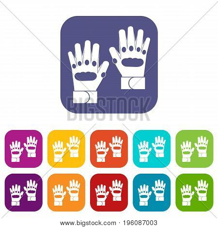 Pair of paintball gloves icons set vector illustration in flat style in colors red, blue, green, and other