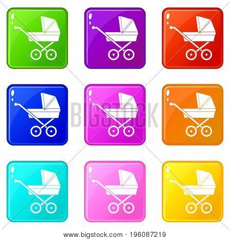 Baby carriage icons of 9 color set isolated vector illustration