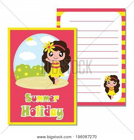 Cute girl say hello on the beach background vector cartoon, kid notebook paper, wallpaper, and scrap book