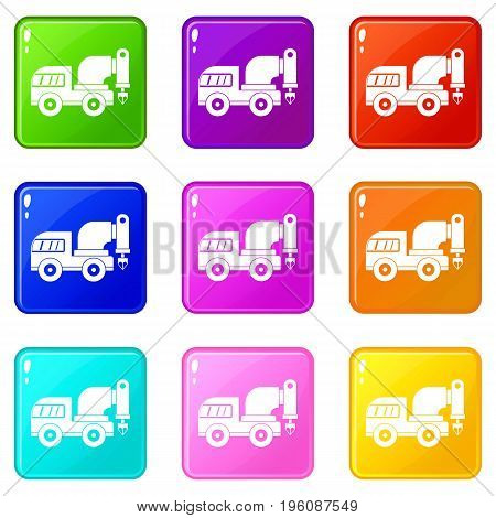 Drilling machine icons of 9 color set isolated vector illustration