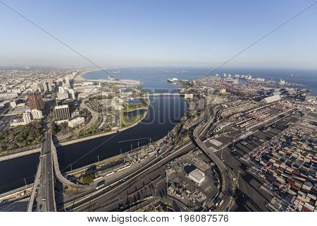 Long Beach, California, USA - July 10, 2017:  Aerial view of end of the Los Angeles River at the Pacific Ocean.