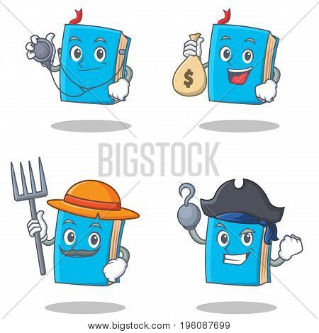 Set of blue book character with doctor money bag farmer pirate vector illustration