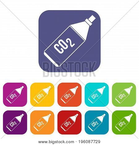 CO2 bottle icons set vector illustration in flat style in colors red, blue, green, and other