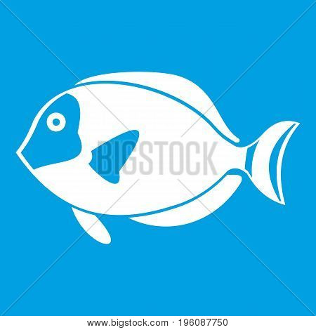 Surgeon fish icon white isolated on blue background vector illustration