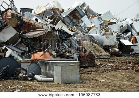 An image of a scrape metal pile at a landfill.