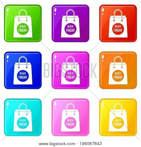 Black Friday shopping bag icons of 9 color set isolated vector illustration