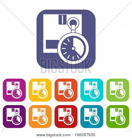 Cardboard box with stopwatch icons set vector illustration in flat style in colors red, blue, green, and other