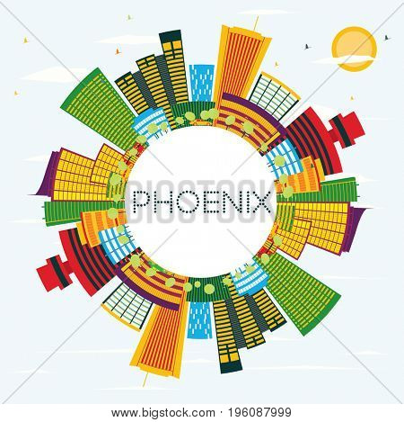 Phoenix Skyline with Color Buildings, Blue Sky and Copy Space. Business Travel and Tourism Concept. Image for Presentation Banner Placard and Web Site.