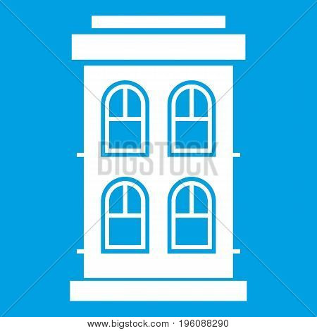 Two-storey house with large windows icon white isolated on blue background vector illustration
