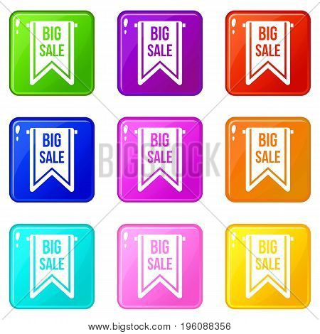 Big sale banner icons of 9 color set isolated vector illustration