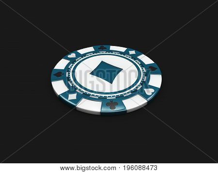 Casino Chip With Diamonds Signes Isolated Balck. 3D Illustration