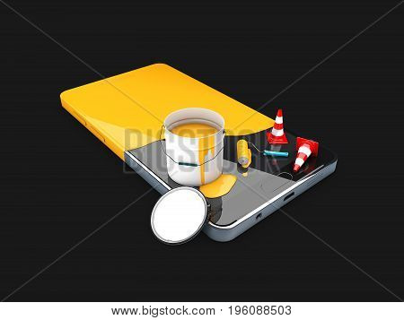 Painted In Yellow Phone, Concept Of Recovery Or Renew, 3D Illustration Isolated Black