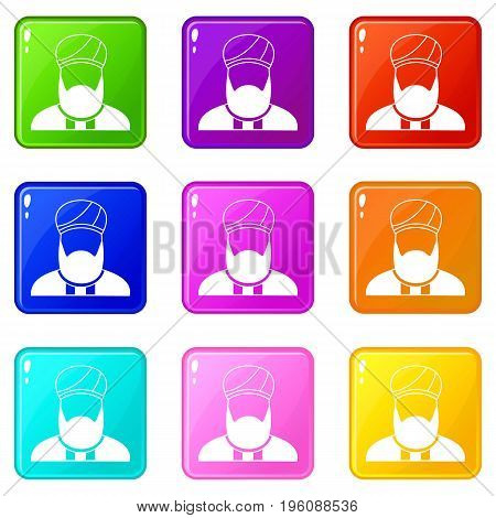 Muslim preacher icons of 9 color set isolated vector illustration