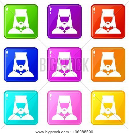 Orthodox priest icons of 9 color set isolated vector illustration