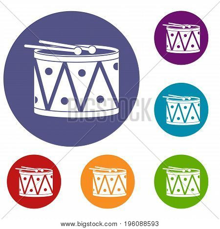 Drum and drumsticks icons set in flat circle red, blue and green color for web