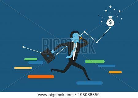 Running towards the goal. Business vector illustration.