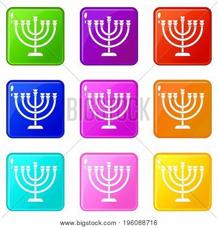 Menorah icons of 9 color set isolated vector illustration