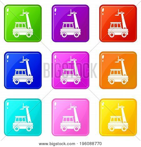 Cherry picker icons of 9 color set isolated vector illustration