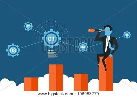 Businessman lurking from a distance and stand above the graph growth. Concept business vector illustration.