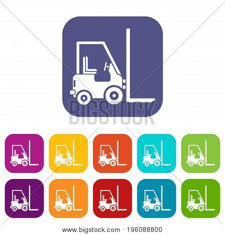 Stacker loader icons set vector illustration in flat style in colors red, blue, green, and other