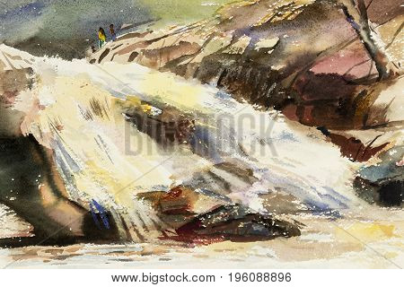 Watercolor landscape original painting colorful of people travel in the waterfall and emotion in sky background