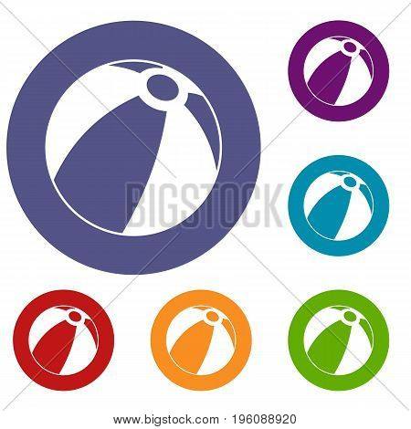 Beach ball icons set in flat circle red, blue and green color for web