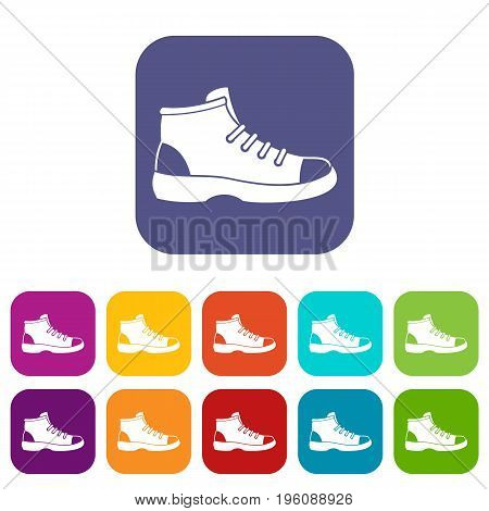 Tourist shoe icons set vector illustration in flat style in colors red, blue, green, and other
