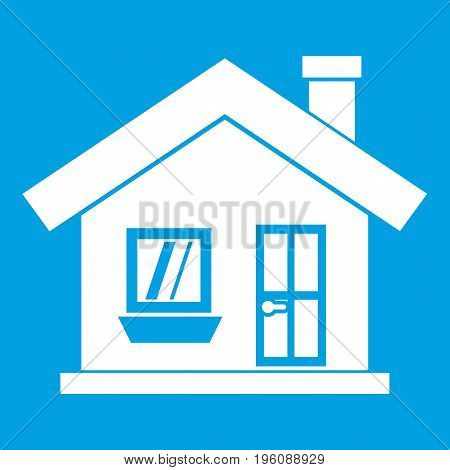 One-storey house with a chimney icon white isolated on blue background vector illustration