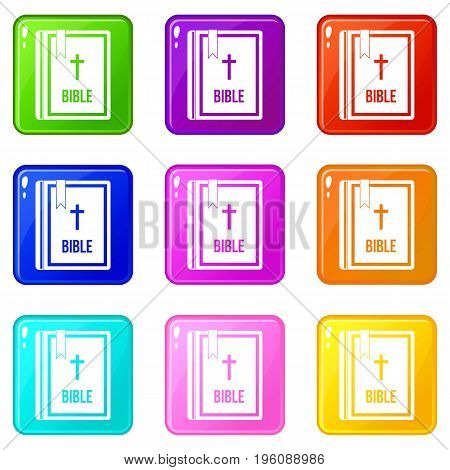 Bible icons of 9 color set isolated vector illustration
