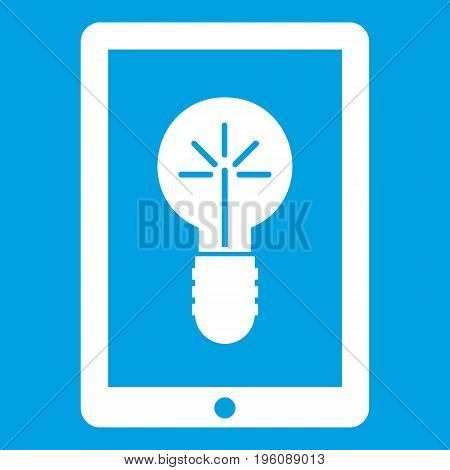Idea lamp on gadget screen icon white isolated on blue background vector illustration