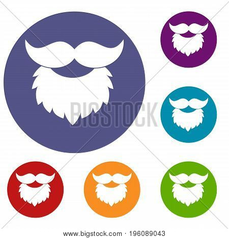 Beard and mustache icons set in flat circle red, blue and green color for web