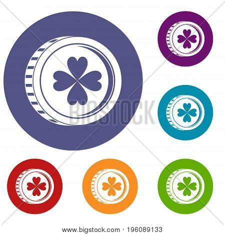 Coin with clover sign icons set in flat circle red, blue and green color for web