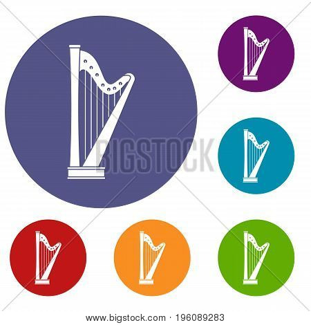 Harp icons set in flat circle red, blue and green color for web