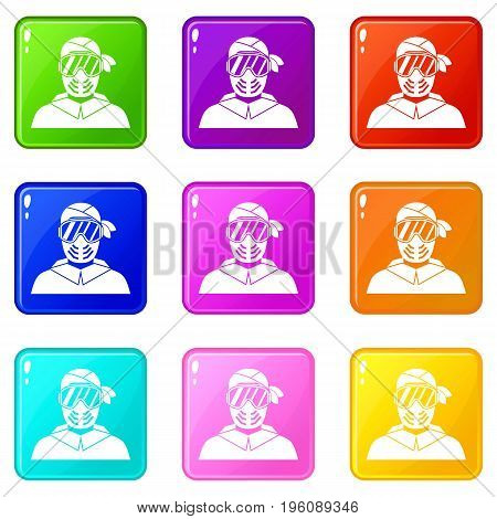 Paintball player wearing protective mask icons of 9 color set isolated vector illustration