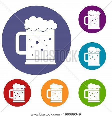 Beer mug icons set in flat circle red, blue and green color for web