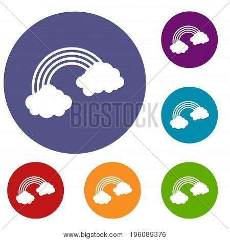 Rainbow icons set in flat circle red, blue and green color for web