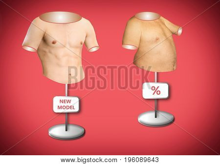 The conceptual image of beautiful male torso like a manikin and torso of fat man. Concept of diet, fitness and Healthy lifestyle