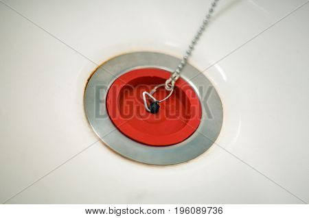 Red Rubber Bath Plug On Chain