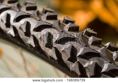 Detail close up of the tread pattern on a bicycle trye