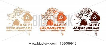 Multi-colored banners set for Krishna Janmasthami. Collection of design logos for the birthday of Krishna. Vector illustration isolated on white background