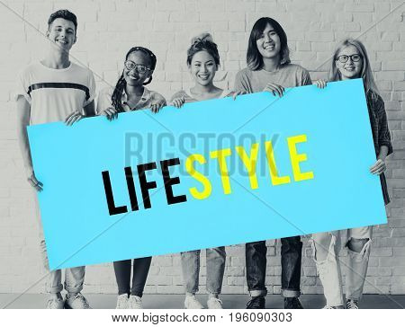 People teenagers holding board with lifestyle word