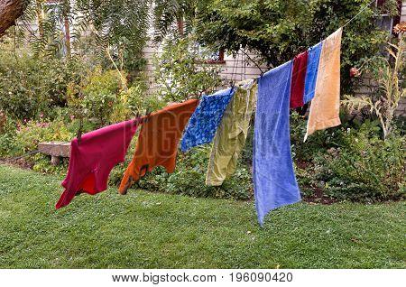 Washing Hanging On Clothesline