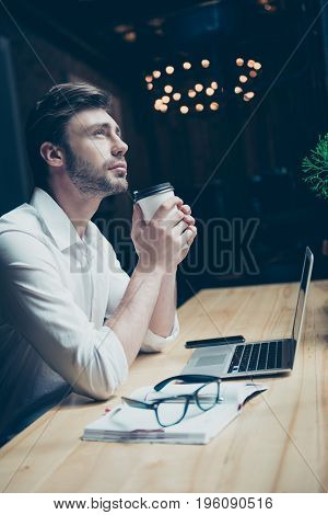 Young Stylish Well Dressed Author Writer Is Enjoying Hot Tea In A Modern Coworking, So Inspired, Rel