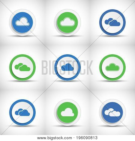 Set of abstract color cloud buttons with shadow.