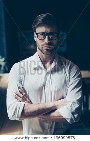 Successful Young Boss With Bristle, In Glasses, Well Dressed. So Stylish And Stunning, Harsh And Mat