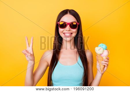 Peace! Funky Young Asian Lady Is Posing For Vacation Photo Shot, Wearing Tourist`s Outfit, Glasses,
