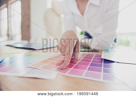 Creative Occupation. Close Up Hand Of Female Graphic Designer, Interior Designer, Architect, Stylist