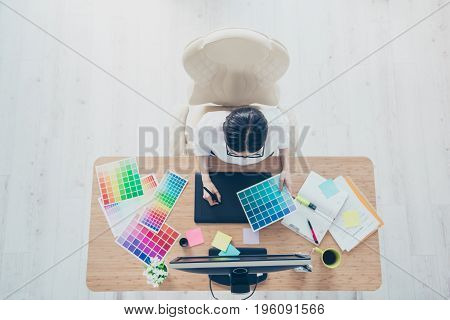 Graphic Visual Art Creative Design Concept. Top View Of Creative Work Place Of Female Animator In A