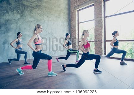 Five Young Fashionable Sportswomen Are Stretching Their Legs By Doing Squats, So Bendy And Flexible,