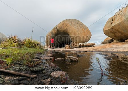 Tourists in Lajedo de Pai Mateus - a famous rock formation in the Caatinga (Brazilian ecoregion) in Cabaceiras Paraiba Brazil